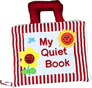 Naveeda's My Quiet Book with Red Stripe Cover - Montessori Educational Early Learning Activity Cloth Book for Babies and Kids. A Fun Filled Busy Book That Children Will Love.