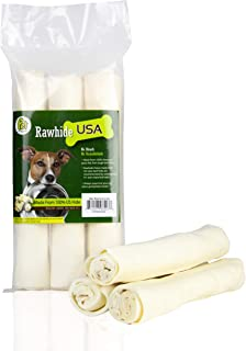 Rawhide Large Thick Rolls 9 to 10 inches Long-Lasting Chew Treat Toy for Medium and Large Dogs, Made in Registered Facility