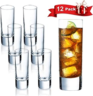 Farielyn-X Clear Heavy Base Shot Glasses 12 Pack, 2 oz Tall Glass Set for Whiskey, Tequila, Vodka