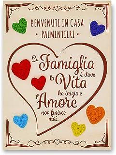 Crociedelizie, Targa targhetta benvenuti in casa idea regalo personalizzata personalizzabile cognome e frase La famiglia è...