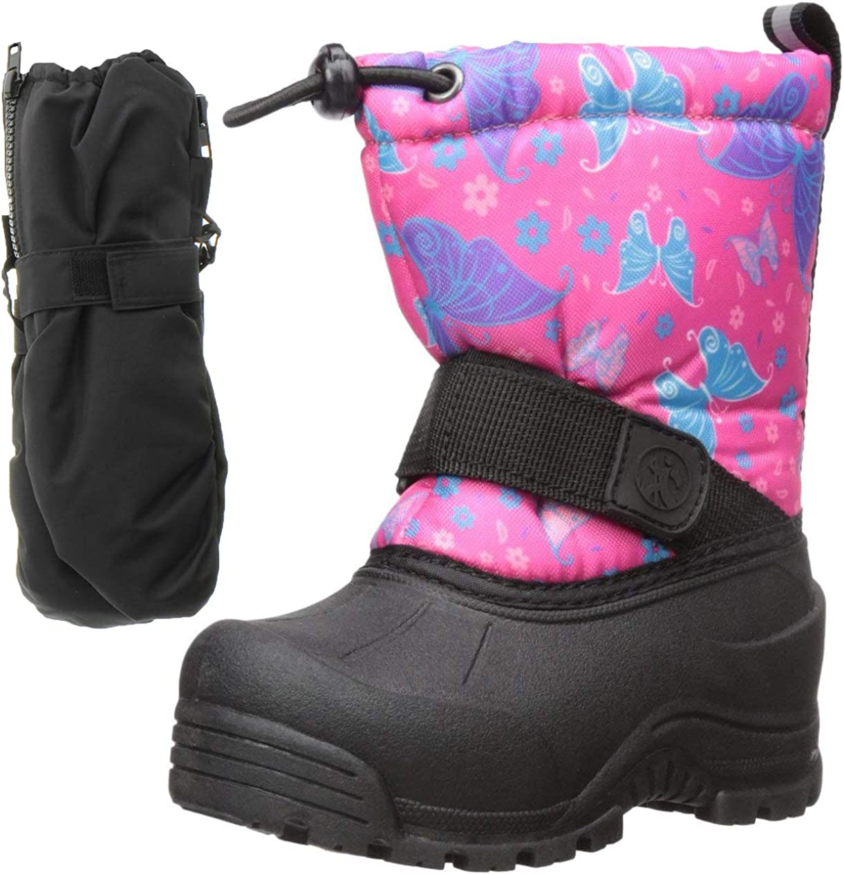 Northside Frosty Winter Girls Snow Boots with Matching Waterproof Mittens, Size: