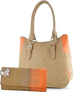 Butterflies Women's Handbag and Wallet Combo (BNS WB0252, Beige and Orange)