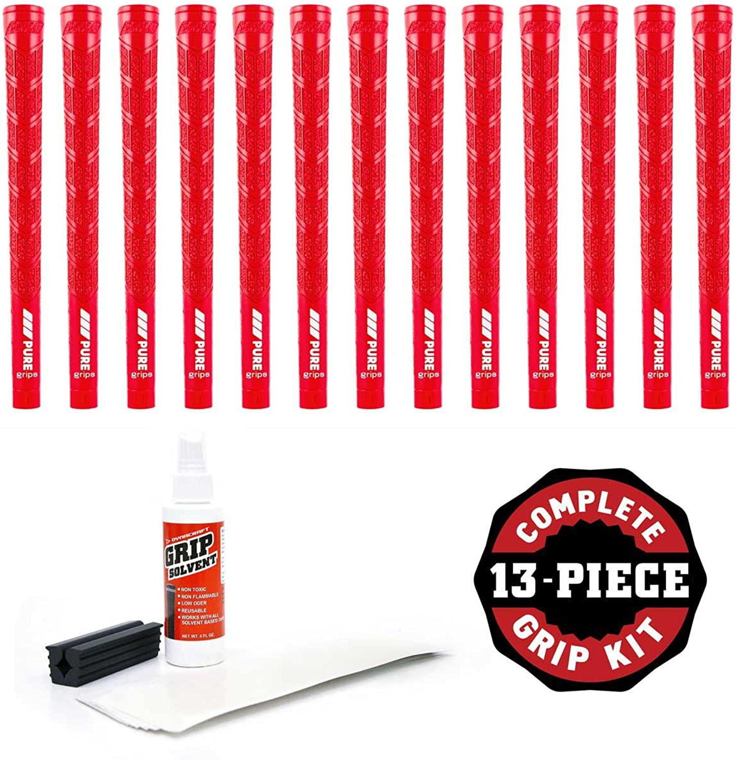 Pure Grips Midsize DTX Red-13 Piece Grip Kit (with Tape, Solvent, Vise Clamp)