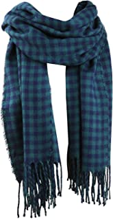 Womens Plaid Scarf Large Long Blanket Check Wrap Shawl with Tassel SC315