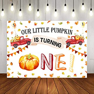 Fall 1st Birthday Party Backdrop for Photography Autumn Our Little Baby Pumpkin is Turning One Background 7x5ft Thanksgiviing Day Balloon Cars Colorful Flag Decorations for Kids Birthday Party Photo B