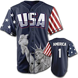 Greater Half Custom Baseball Jersey Button Down USA Blue America #1 (Small-4XL)