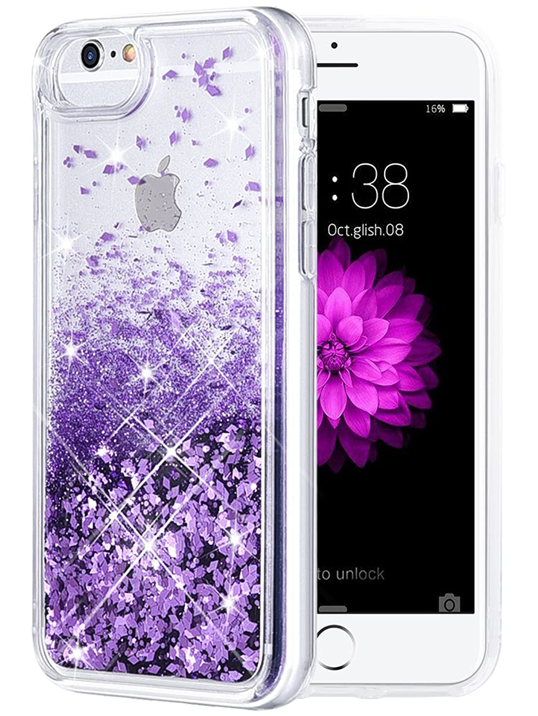 iPhone 6/6S/7/8 Case, Caka iPhone 6S Glitter Case [with Tempered Glass Screen Protector] Bling Flowing Floating Luxury Glitter Sparkle Soft TPU Liquid Case for iPhone 6/6S/7/8 (4.7
