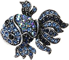ForU-1 Women Crystal Fish Brooches Alloy Shinny Rhinestone Goldfish Brooch Pin