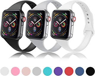 DYKEISS Sport Slim Silicone Band Compatible with Apple Watch 38mm 42mm 40mm 44mm, Thin Soft Narrow Replacement Strap Wristband for iWatch Series 1/2/3/4/5