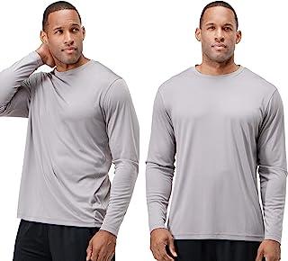 DEVOPS Men`s 2 Pack UPF 50+ Sun Protection Long Sleeve Dri Fit Fishing Hiking Running Workout T-Shirts