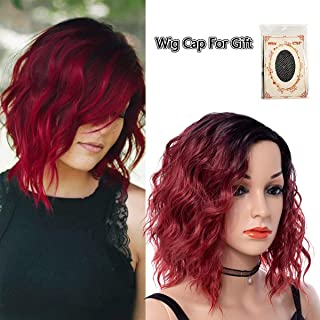 Short Curly Hair Wigs Black To Red Ombre Color Wet And Wavy High Temperature Fiber Synthetic Wigs For Black Women Water Wave Fluffy Hair Halloween Cosplay Wig (R1B/39Aj,14 Inch)