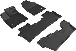 3D MAXpider Complete Set Custom Fit All-Weather Floor Mat for Select Honda Pilot Models - Kagu Rubber (Black)