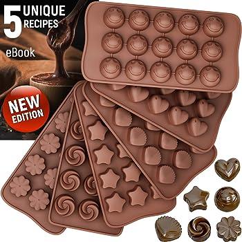 Stampi in silicone per cioccolatini + 5 eBook di ricette – Confezione da 6 stampi antiaderenti per cioccolato – stampo in silicone senza BPA
