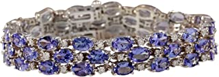 23.85 Carat Natural Blue Tanzanite and Diamond 14K White Gold Luxury 3 Strand Bracelet for Women
