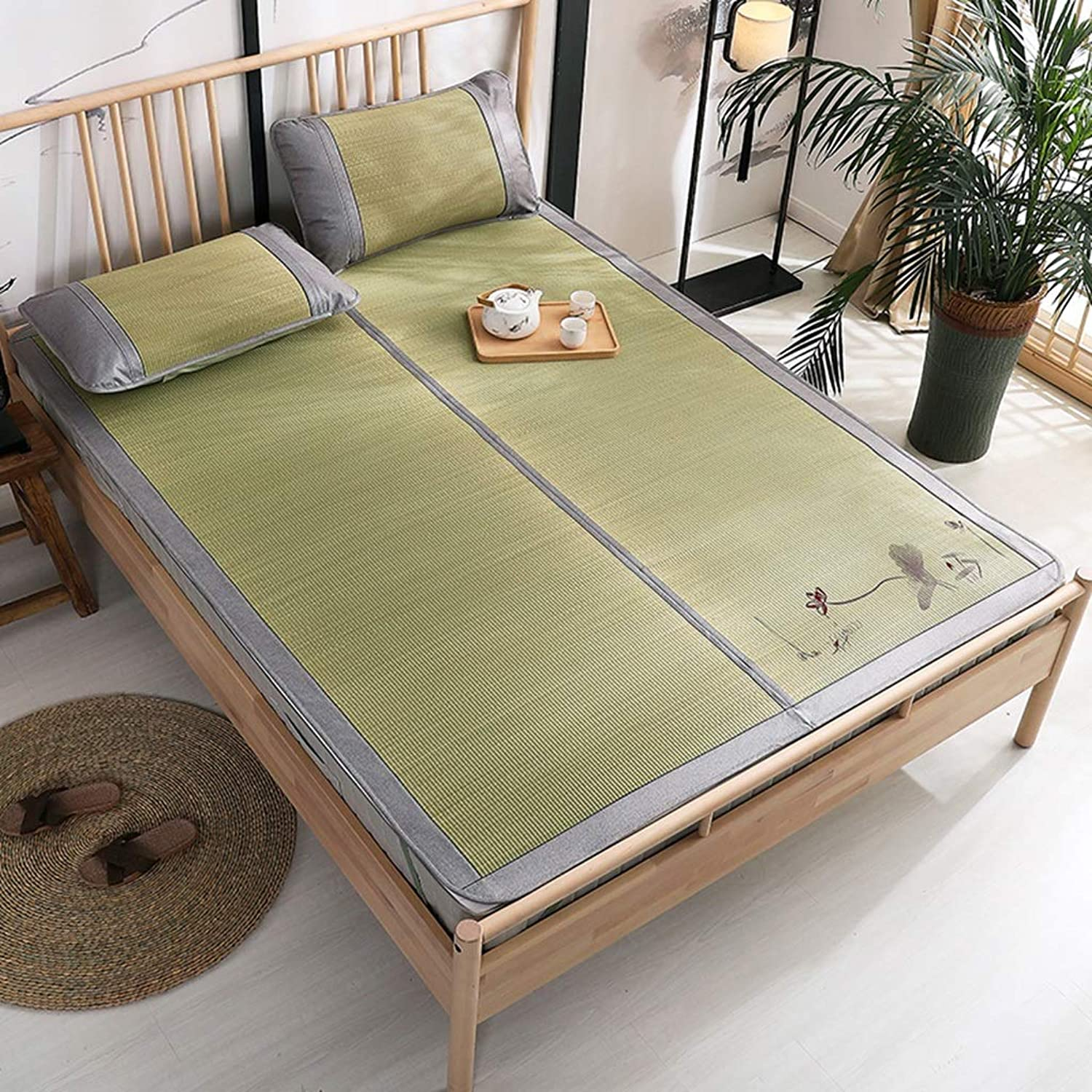 Three Sets of Grass Mats 1.5 Meters Bed Mat Embroidery Double 1.8 Meters Bed Natural Bamboo Mats (color   Green, Size   150  200cm)
