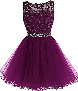 Huifany Women's Short Lace Homecoming Dresses Beaded Cocktail Prom Party Gowns