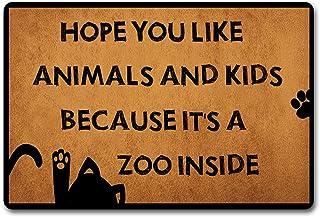 Eureya Hope You Like Animals and Kids Because Its A Zoo Interior Funny Felpudo Exterior Interior Goma Mat Non-Woven Tela ...