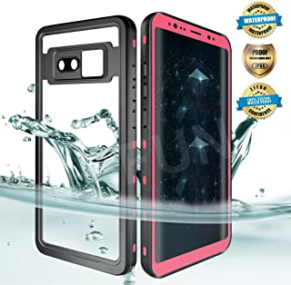 EFFUN Samsung Galaxy Note 8 Waterproof Case, IP68 Certified Waterproof Underwater Cover Dust/Snow Proof Shockproof Case with Phone Stand, PH Test Paper and Floating Strap Black/White/Aqua Blue/Pink