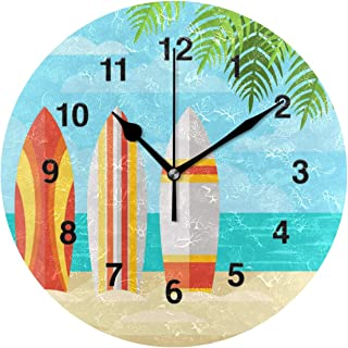Jojogood Summer Beach and Surfboards Wall Clock Silent Non Ticking Acrylic Decorative Round Clock for Home Office School Artwork Gift