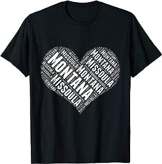 State Heart MONTANA Tshirt MISSOULA Tshirt Home Tee