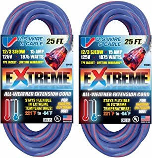US Wire 25-Foot Blue Cold Weather Extension Cord with Lighted Plug (2-Pack)