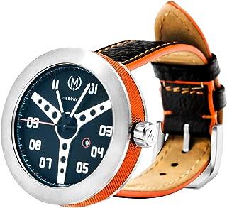 Marchand Debonair Racing Watch | Unique Steering Wheel Dial | Retro Inspired Watch | British Designed | Swiss Quartz Movement | Sapphire Crystal | Watch for Men | Aluminium Case Ring