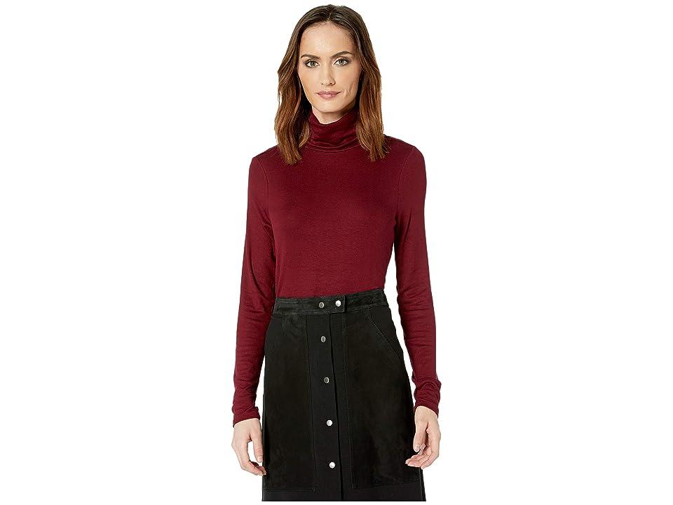 Three Dots Long Sleeve Luxe Rib Top (Garnet) Women