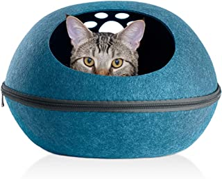 Furhaven Pet Cat Bed Furniture | Paw Print Cutout Felt Pet House Private Den Hideout Oval Pet Bed for Cats & Small Dogss, Heather Lagoon, One Size