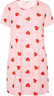 Yours - Pink Heart Nightdress - Women's - Plus Size Curve