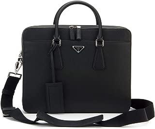Prada Men's Saffiano Cuir Leather Briefcase (Black)