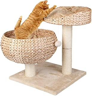 GH-YS Hooks Cat Climbing Tower Cat Tree/Tower/Cat Scratching Post/Sturdy Climbing Post/Robust Cat Bed For Cats Beige with 2 Cushions/Basket Cat Toys Cat Tower Cat Trees (Color : Brown)