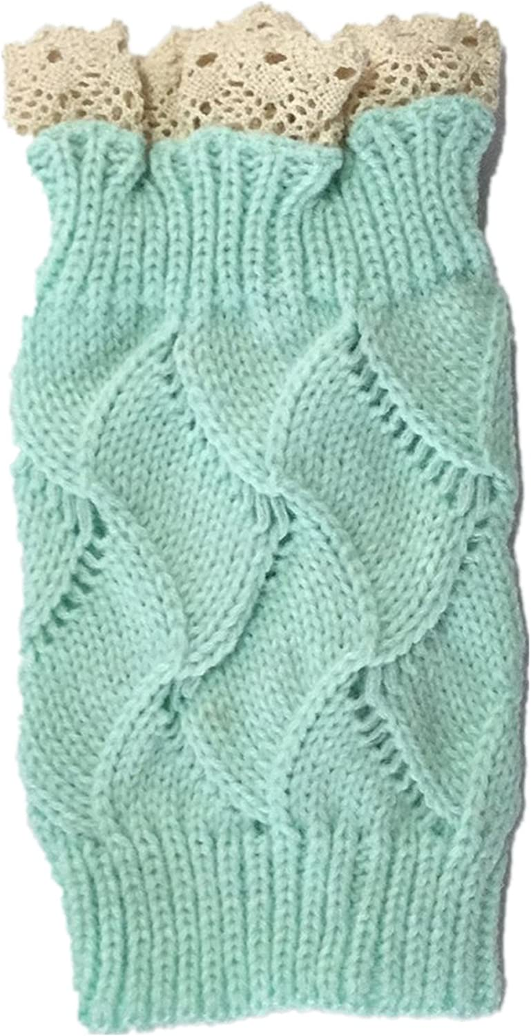 Wiipu Women's Knitted Off White Lace Trim Boot Cuffs Warmers Socks(st760)