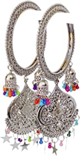 JD'Z COLLECTION Indian Bollywood Jewelry Silver Color Bangles Bollywood Bracelet 2pc Bangle Multi Hanging Bangles for Girls Womens
