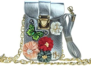 Clutch Blüte Tasche Handtasche mit Strass Schmuck /& Blüte zum Abendkleid