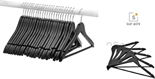 STAR WORK Solid Matt Black Wood Suit Hangers, Standard Size Suit Hangers with Non Slip Bar and Precisely Cut Notches| Polished Chrome Hook, Durable Wooden Hangers, 20 Pack