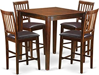 East West Furniture 5-Piece Counter Height Table Set