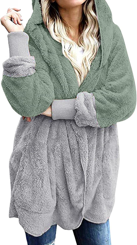 FUNEY Women's Oversized Long Sleeve Solid Patchwork Fuzzy Fleece Open Front Hooded Cardigans Jackets Outwear with Pocket