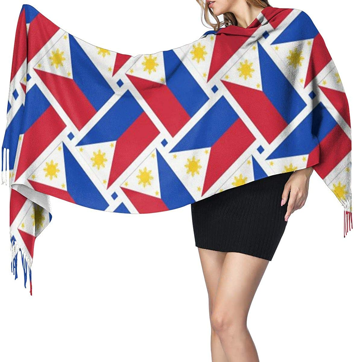 Philippines Flag Weave Women's Winter Warm Scarf Fashion Long Large Soft Cashmere Shawl Wrap Scarves
