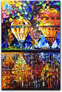 Desihum-Oil Painting Hot Air Balloon Wall Art on Canvas Colorful Decoration piuture for Living Room Home Decor Children's Room 24x36 Inch