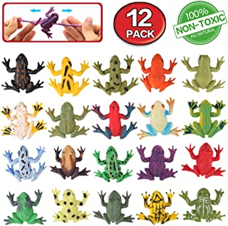 Frog Toys12 Pack Mini Rubber Frog setsFood Grade Material TPR Super StretchesWith Gift Bag And Learning Study CardValeforToy Realistic Frog Figure Squishy Toys For Boy Kids Bathtub