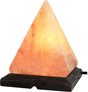 Greenco Pyramid Shaped Hand Carved Natural Himalayan Salt Lamp on Wooden Base with Electric Wire, Dimmer Control & Bulb.