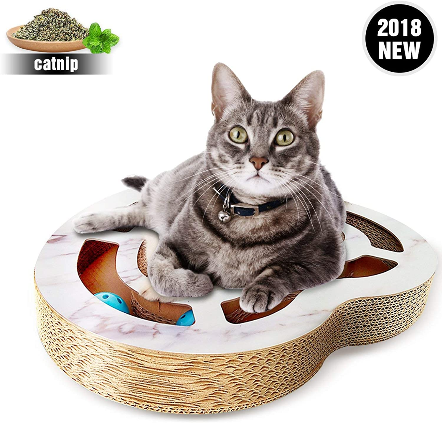 Gohunter Cat Scratcher with Bell Balls Cardboard Cats Scratcher Lounge Cat Toy (Heart)