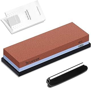 Piedra de Afilar Cuchillos 400/1000, Afilador de Cuchillos, Trilancer Waterstone, Guía de Ángulo y Manual de Usuario Incluido