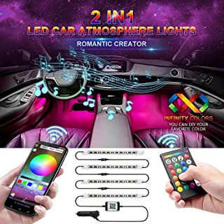 wsiiroon Car LED Strip Light, Newest Style Remote and APP Control Car Interior Lights, Upgrated 16 Fixed Colors, Infinite DIY Colors, New Type Lamp Strip, Sound Active Function(DC 12V)