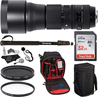 Sigma 745306 150-600mm F/5-6.3 DG OS HSM Contemporary Lens for Nikon AF Cameras, 95mm UV Filter, 95mm Circular Polarizer Filter, 32GB Memory Card, Polaroid Bag, Monopod and Accessory Bundle