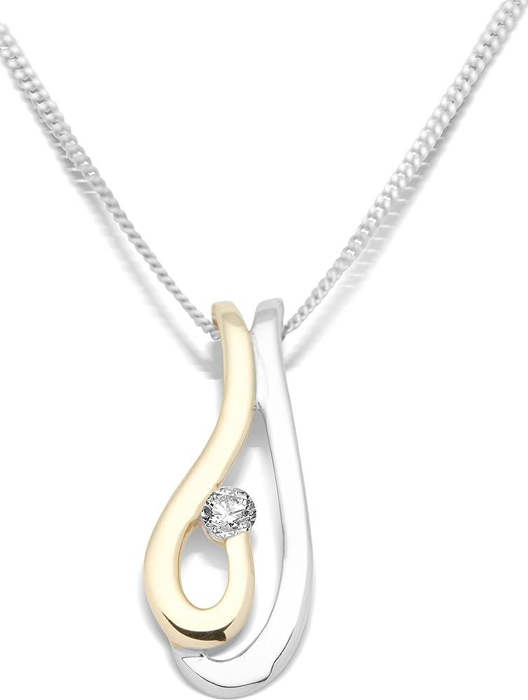Miore,collana per donna con pendente,in oro bicolore 9kt/375(1,97 gr) con ciondolo e diamante 0,05 ct MH9027N