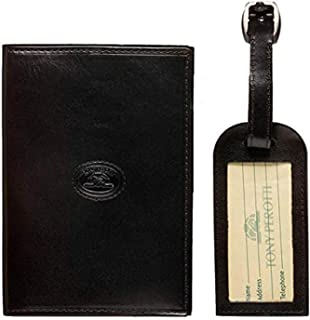 Tony Perotti Leather Passport Case Holder and Luggage Tag Combo Gift Set Black
