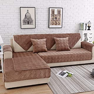 Deep Dream Sectional Sofa Covers, Velvet Sofa Slipcover Furniture Protector Anti-Slip Couch Covers for Dogs Cats Kids 28 x 70 Inch - Light Coffee (Sold by Piece/Not All Set)