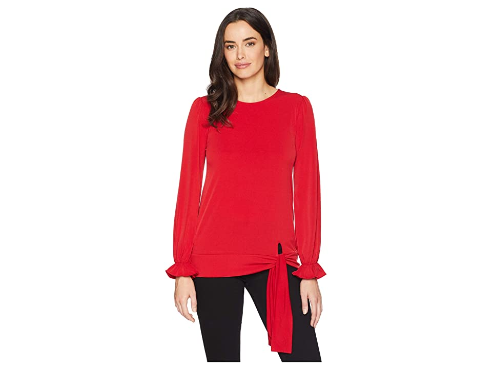MICHAEL Michael Kors Long Sleeve Tie Blouse Top (Red Currant) Women's Clothing