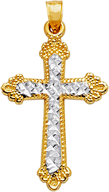 14k 2 Tone Gold Diamond Cut And Milgrain Finish Cross Pendant